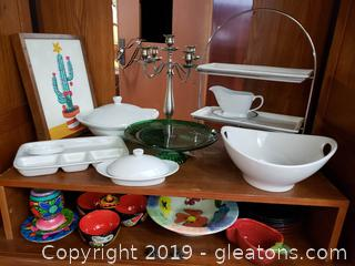 Large Lot Of Serving Dishes