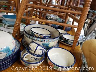 Large Lot Of Handmade Painted From Mexico Dishes