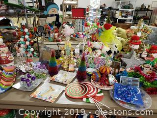 Large Table Lot Of Holiday Decor