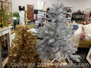 Set Of (2) Gold And Silver Artificial Christmas Trees