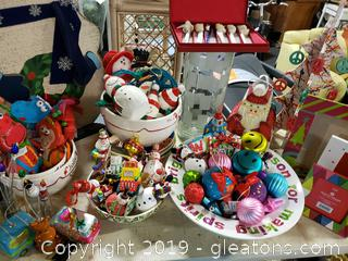 "Table Lot Of Holiday ""New"" With Tags Decor"