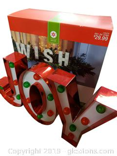 """New In Box"" ""Wish"" and ""Joy"" Lit Decor"