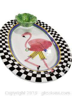 Flamingo Chip And Dip Tray