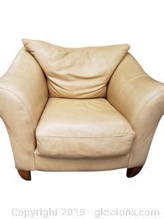 Cream Leather Chair in Good Condition