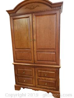 Solid Wood Oak Armoire T.V. Stand