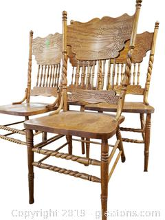 Set Of Beautiful Hand Carved Spindle Dining Chairs