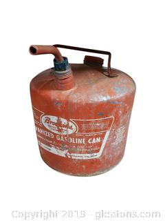 Vtg. Galvanized Gasoline Can