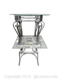 Pair Of Glass Metal End Tables