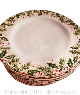 Set Of (8) Large Dinner Plates Christmas Holly Berry