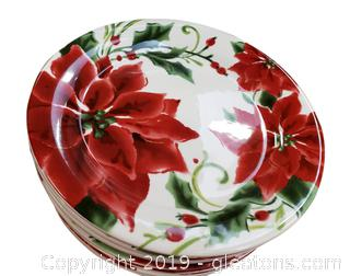 Set Of (8) Poinsettia Christmas Plates