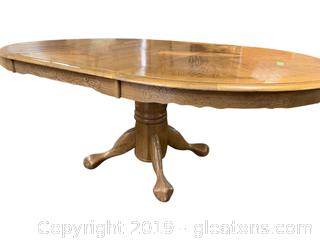 Oak Pedestal Oval Table