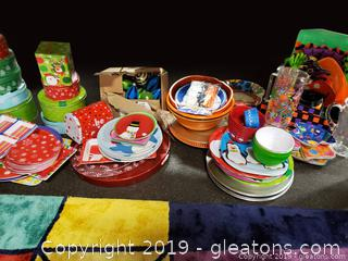 Large Lot Of Serving Holiday Decor