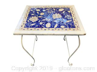 Blue And White Tile Table