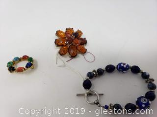 Vtg. Glass Brooches And Bracelet