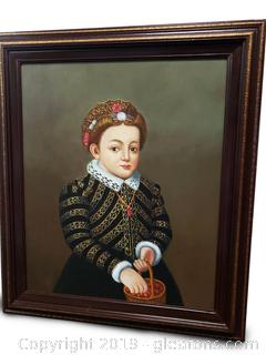 Original Oil Painting A Little Girl With A Basket Of Cherries