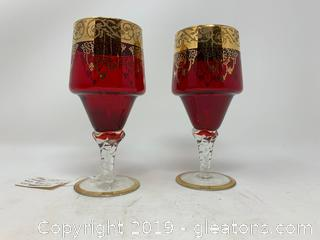 Ruby Wine Glass Pair
