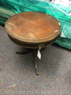 Antique Round Leather top table with drawer