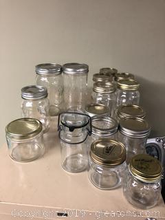 Lot mason and glass storage jars