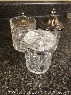 Lot of vintage crystal and glass jelly jars