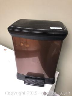 Small kitchen lift top trashcan bronze color