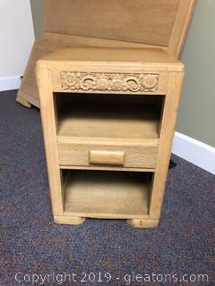 Antique Oak carved nightstand  ( Part of Bedroom set)