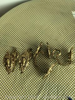 Lot of Antique Brass Drapery Holdbacks