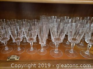 Large Set Of Lead Crystal Water/Wine And Champagne Glasses
