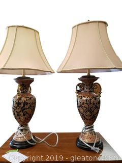 PR Of Beautiful Urn Glass Lamps