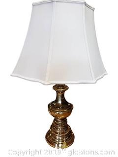 Vtg Solid Brass Lamp With Beautiful Shade