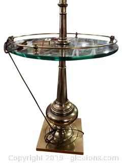 Brass Glass Side Table Floor Lamp