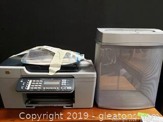 HP Office Jet 5610 All In One Printer And Fellowes Paper Shredder And Basket
