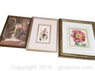 Set Of (3) Beautiful Framed Wall Art