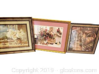 Lot Of (3) Beautiful Botanical Framed Art