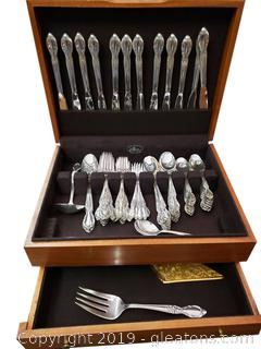 "Elegant ""Victorian Rose"" Pattern Set Of Flatware In Box"