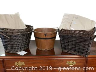 Vtg Wooden Bucket And Basket Lot