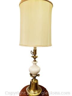 Tall Vtg. Glass Brass Table Lamp