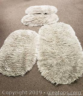 Set Of (4) Shaggy Rugs Bathroom Rugs