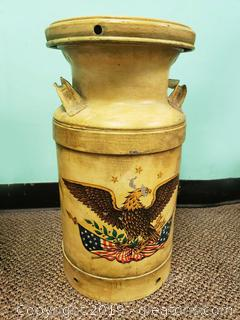 Vintage Milk Can With patriotic Style Bold Eagle Declaration Of Independence