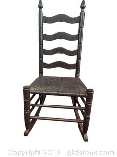 Painted Rattan Armless Rocker
