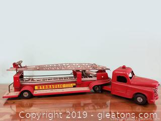 Vtg. Structo Fire Ladder Engine Truck, Hydraulic Hook And Ladder