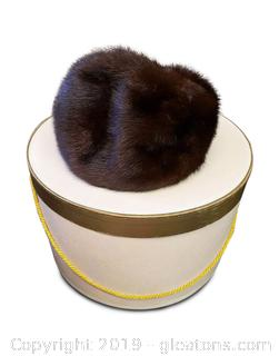 Mink Fur Hat With Hat Box