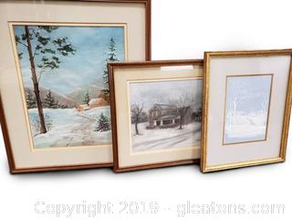 Set Of (3) Framed Winter Scene Hand Sketched Print