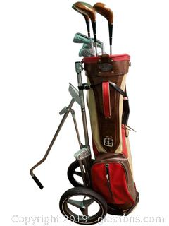 A Jay Vtg. Golf Club Bag With Stand And Clubs