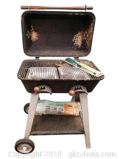 Vtg Charcoal Grill With Lighter Cover And Roll Of Plastic