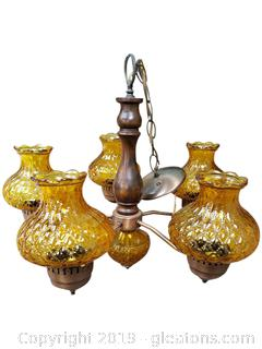 Beautiful Vtg. Gold Glass Copper Finish Chandelier