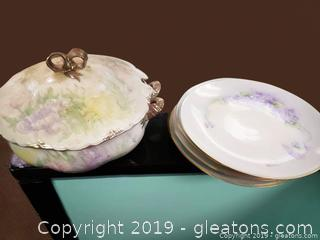 Beautiful Hand Painted Plates And Soup Server