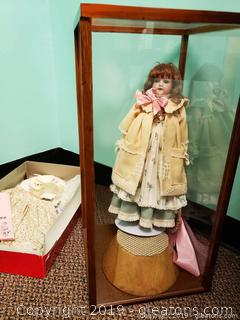 Vtg. Martha Watkins Doll With Case And Clothes Set
