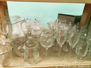 Vtg Glass Shelf Lot