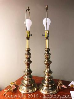 Pair Of Portable Brass Lamps
