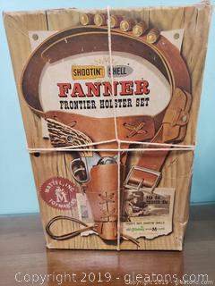 Vtg. Shooting Shell Fanner Frontier Holster Set